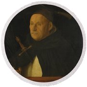 A Dominican With The Attributes Of Saint Peter Martyr Round Beach Towel