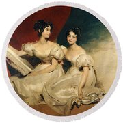 A Double Portrait Of The Fullerton Sisters Round Beach Towel by Sir Thomas Lawrence