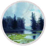 A Dreary Day At The Pond Round Beach Towel