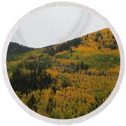 A Drive Throw The Forest In The Fall Round Beach Towel