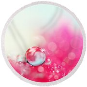 A Drop With Raspberrys And Cream Round Beach Towel