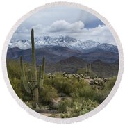 A Dusting Of Snow In The Sonoran Desert  Round Beach Towel