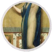 A Fair Reflection Round Beach Towel by John William Godward