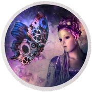A Fairy Butterfly Kiss Round Beach Towel