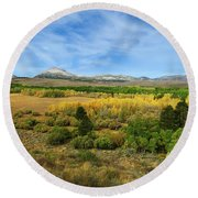 A Fall Day In The Sierras Round Beach Towel