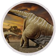 A Female Apatosaurus Laying Her Eggs Round Beach Towel