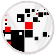 Black And Red Squares Round Beach Towel