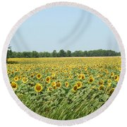 A Field Of Smiles Round Beach Towel