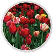 A Field Of Tulips Round Beach Towel