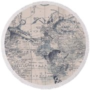 A Fishermans Map Round Beach Towel