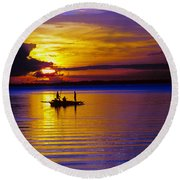 A Fisherman's Sunset  Round Beach Towel
