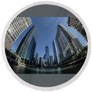 A Fisheye View Of The Chicago Skyline As You Appraoch Wolf Point Round Beach Towel