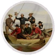 A Fishing Party Off Long Island Metal Round Beach Towel