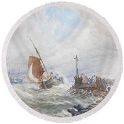 A Fishing Smack Entering Harbour Round Beach Towel