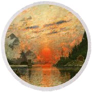 A Fjord Round Beach Towel by Adelsteen Normann
