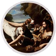 A Flask-bearer Surprised By Two Dogs In A Landscape Round Beach Towel