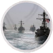 A Fleet Of Ships In Formation At Sea Round Beach Towel