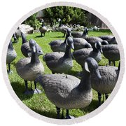 A Flock Of Decoys Round Beach Towel