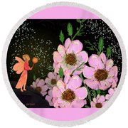 A Flower Fairy Round Beach Towel