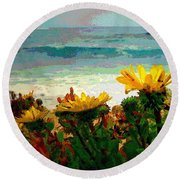 A Flowery View Of The Surf Watercolor Round Beach Towel
