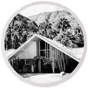 A Frame Bw Palm Springs Round Beach Towel