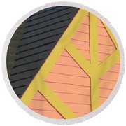 A-frame In Pastel Pink And Harvest Gold Yellow Round Beach Towel