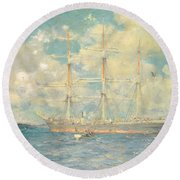 A French Barque In Falmouth Bay Round Beach Towel