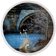 A Frozen Corner In Central Park Round Beach Towel by Chris Lord