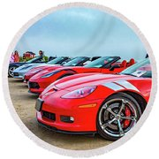 A Gaggle Of Vettes Round Beach Towel