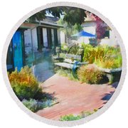 A Garden In Harmony Round Beach Towel