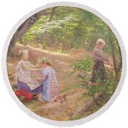 A Garland Of Flowers Round Beach Towel by Frigyes Friedrich Miess