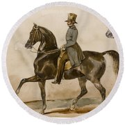 A Gentleman On Horseback With A Subsidiary Study Of The Horse's Head Round Beach Towel