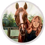 Wide Eyed Girl And Her Horse Round Beach Towel