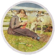 A Girl Knitting Round Beach Towel by Giovanni Segantini