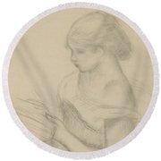 A Girl Reading  Round Beach Towel by Auguste Renoir