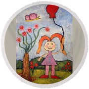 A Girl With A Balloon Round Beach Towel