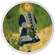 A Girl With A Watering Can 1876 Round Beach Towel