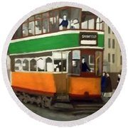A Glasgow Tram With Figures And Tenement Round Beach Towel