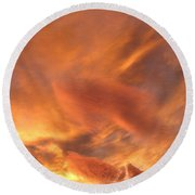 A Glorious Evening Sky Round Beach Towel