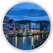 A Glowing Venice  Evening Round Beach Towel