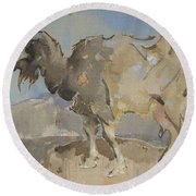 A Goat By Joseph Crawhall 1861-1913 Round Beach Towel