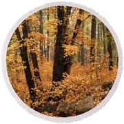 A Golden Autumn Forest  Round Beach Towel