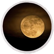 A Golden Super Moon On The Rise  Round Beach Towel