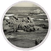 A Good Day Fishing On Monterey Bay In Black And White Round Beach Towel
