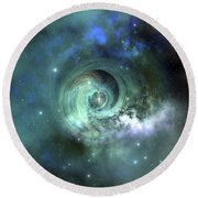 A Gorgeous Nebula In Outer Space Round Beach Towel by Corey Ford