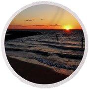 A Grand Beach Sunset Round Beach Towel