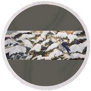 A Gray Jay Kind Of Day Round Beach Towel