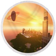 A Great Vision Round Beach Towel by Corey Ford