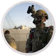 A Green Beret Waits To Have His Gear Round Beach Towel