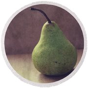 A Green Pear- Art By Linda Woods Round Beach Towel